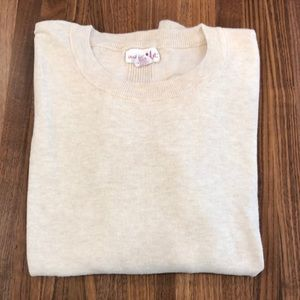 Oatmeal colored light weight cotton blend sweater